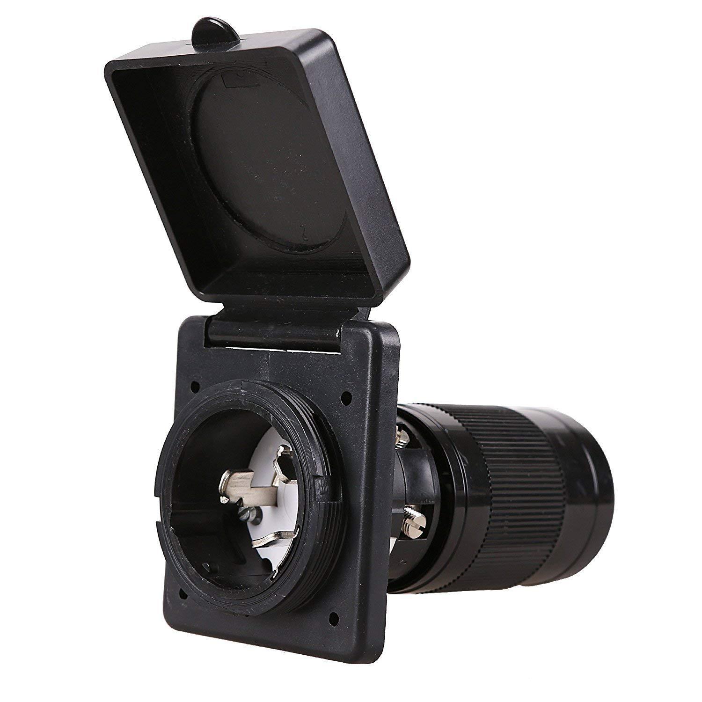 EPICORD RV Power Inlet 50 Amp 125V Marine Twist Lock Panel Mount Weatherproof Inlet (50AMP Inet Black)
