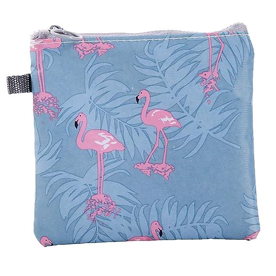 Gosear Portable étanche à la Fermeture à glissière Serviette hygiénique Stockage Organisateur Sac à Main Titulaire pour Les Femmes Filles Dames Bureau Travail école en Plein air Flamingo
