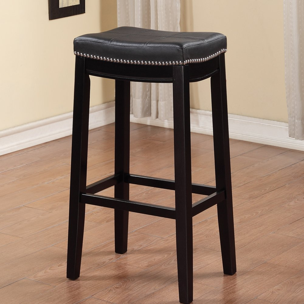Linon Claridge Patches Bar Stool, 32-Inch, Brown