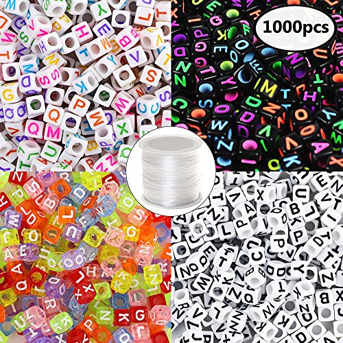Quefe 1000pcs 4 Color Acrylic Alphabet Letter Beads with 1 Roll Elastic Crystal String Cord for Jewelry Making DIY Necklace Bracelet6mm