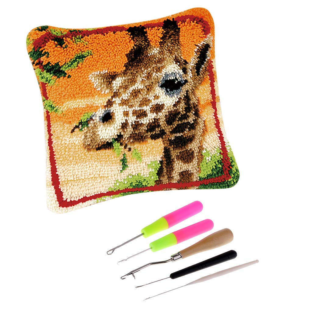 Prettyia Funny Animal Pattern Latch Hook Kits with Basic Tool Pillow Case Making Package DIY Home Ornaments