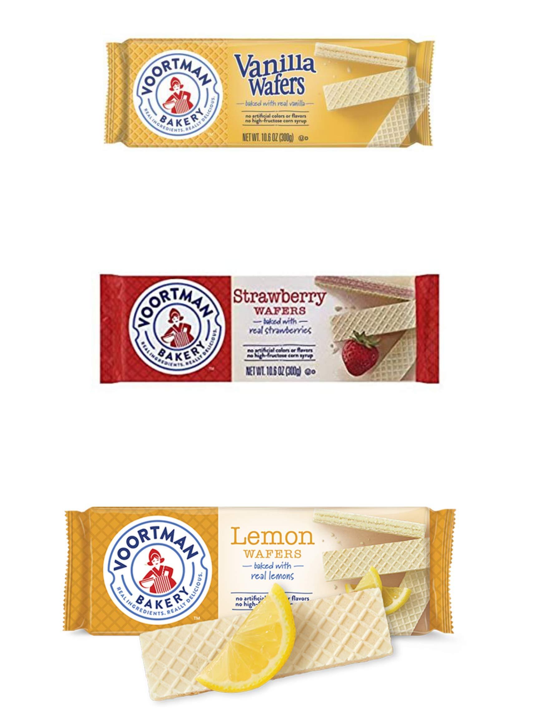 Voortman Wafers Cookies | Vanilla Wafers 14.1 Oz | Lemon Wafers 10.6 Oz | Strawberry Wafers 10.6 Oz - BUNDLE 3