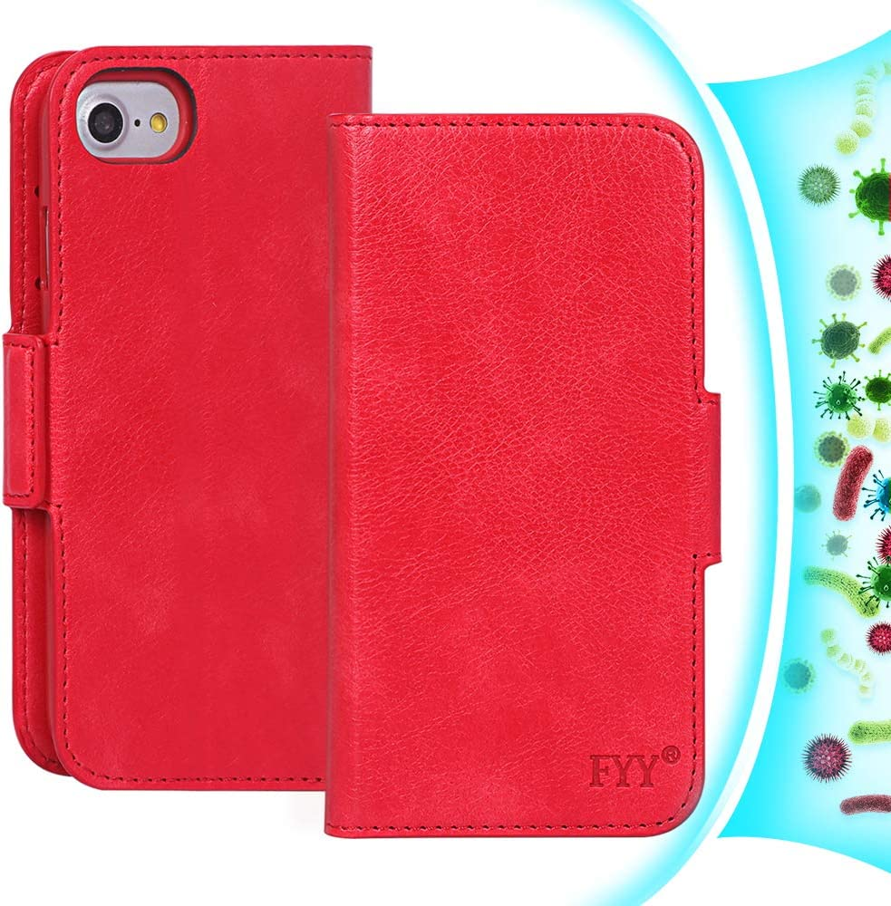 FYY [RFID Blocking] Case for iPhone SE 2020(2nd Gen)/8/7/6S/6 (4.7 inch), PU Leather Wallet Case with [Kickstand Function] [Card Holder] Red