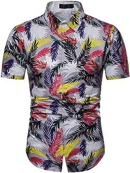 XJWDTX Camisa De Playa De Playa Casual para Hombres Delgados De Verano Delgada para Hombre Camisa De Manga Corta para Jóvenes: Amazon.es: Deportes y aire libre