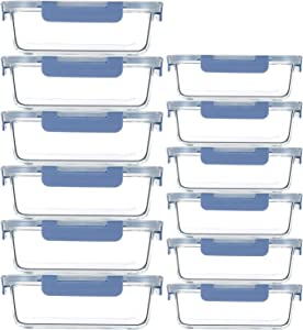 24 Piece Glass Meal Prep Containers with Lids, Airtight Food Storage Containers with Snap Locking Lids, Stackable Glass Lunch Boxes (12 Bowls +12 Lids)