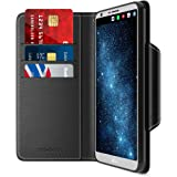 LG G6 Case, Maxboost Wallet Case Protective Covers For LG G6 2017 [Folio Style] Convenient Stand Feature PU Leather LGG6 Flip Cover with Card Slot and Side Pocket Magnetic Closure - Black