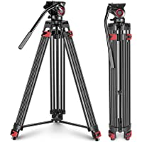 Neewer Professional Heavy Duty Video Tripod 77 inches Aluminum Alloy with 360 Degree Fluid Drag Head, Quick Shoe Plate…