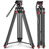 Neewer Professional Heavy Duty Video Tripod 78.7 inches Aluminum Alloy with 360 Degree Fluid Drag Head, Quick Shoe Plate/Bubb