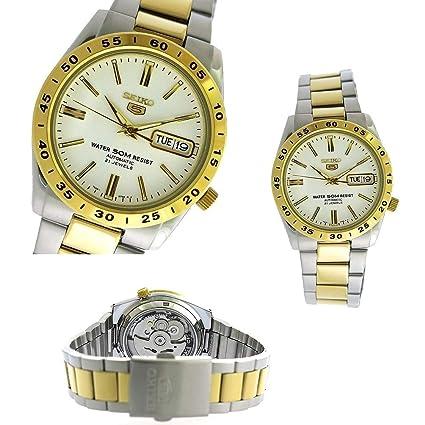 5333e11cc9db Nueva Seiko 5 Dos Tono Blanco Cara clásico Día Fecha Automático snke04 K1  Hombres Reloj De