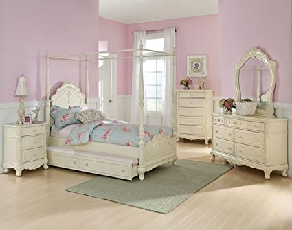 Amazon.com: Homelegance Cinderella Full Size Canopy Bedroom ...