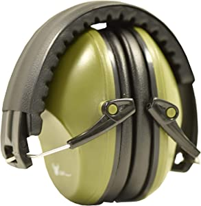 Earmuff Hearing Protection with Low Profile Passive Folding Design 26Db NRR & Reducesup To 125Db Noise Reduction, For Both Aduit & Kids Adjustble Headband, Army Green