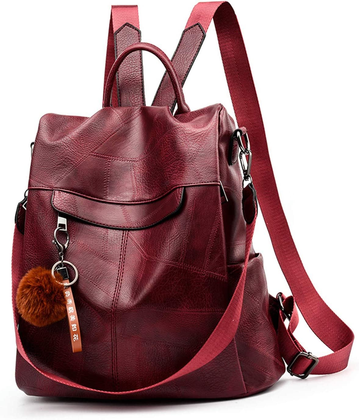 2019 Backpack Women Shoulder School Bags for Teenage Girls Vintage Leather Anti Theft Backpack Mochila Mujer Back Pack Lady,Bordeaux red