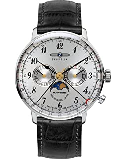 Zeppelin Series LZ129 Hindenburg Mens Multifunction Day/Date Moon Phase Watch Silver with Black Strap