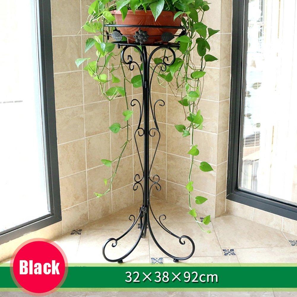 LXLA- 現代の鉄のフラワーポットスタンドシンプルなアセンブリポット付きプラントラックコンチネンタル室内プランターディスプレイシェルフフロアスタンディングシングル (色 : ブラック, サイズ さいず : 32×38×92cm) B07D79SFYD 32×38×92cm|ブラック ブラック 32×38×92cm