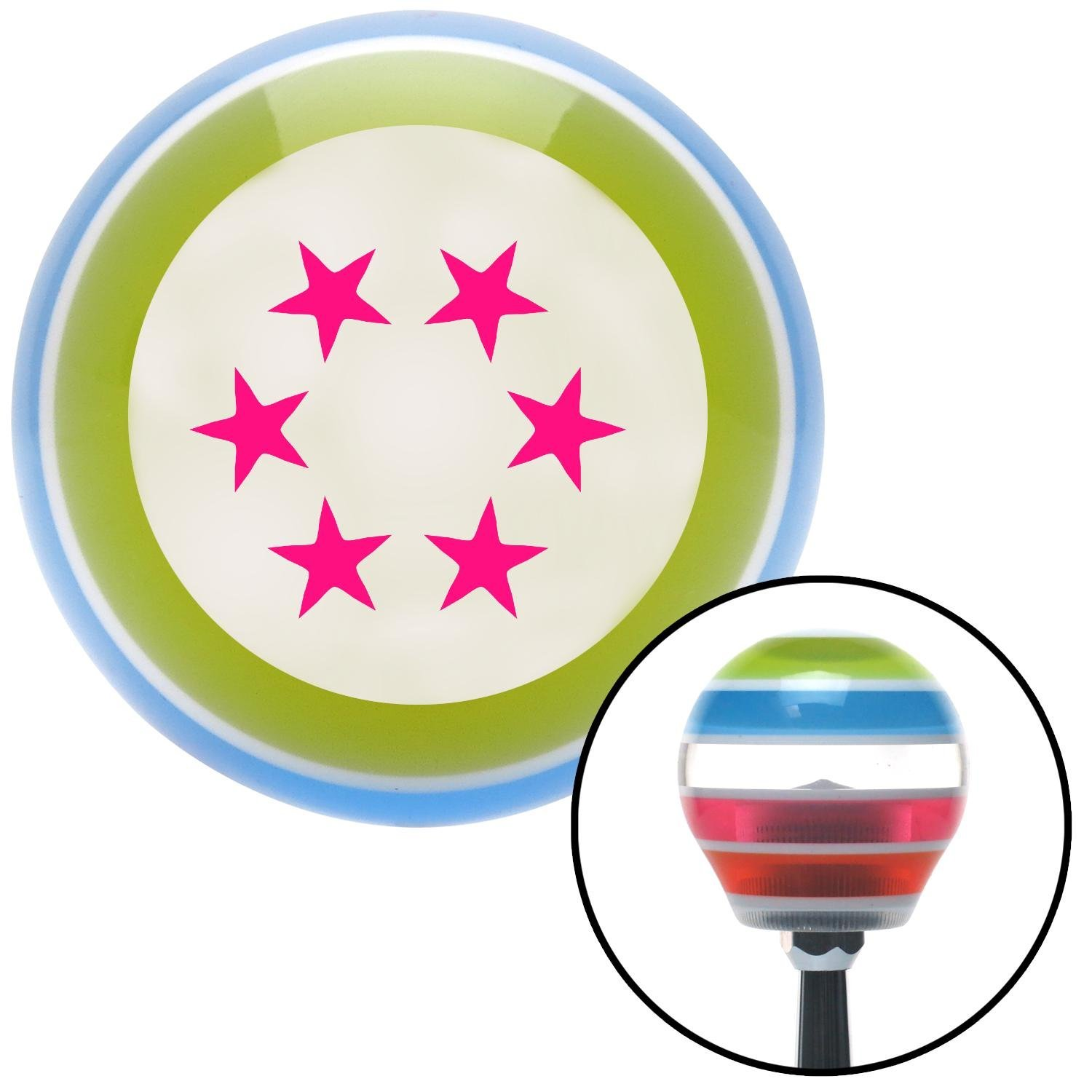 American Shifter 136965 Stripe Shift Knob with M16 x 1.5 Insert Pink 5 Stars in Circle