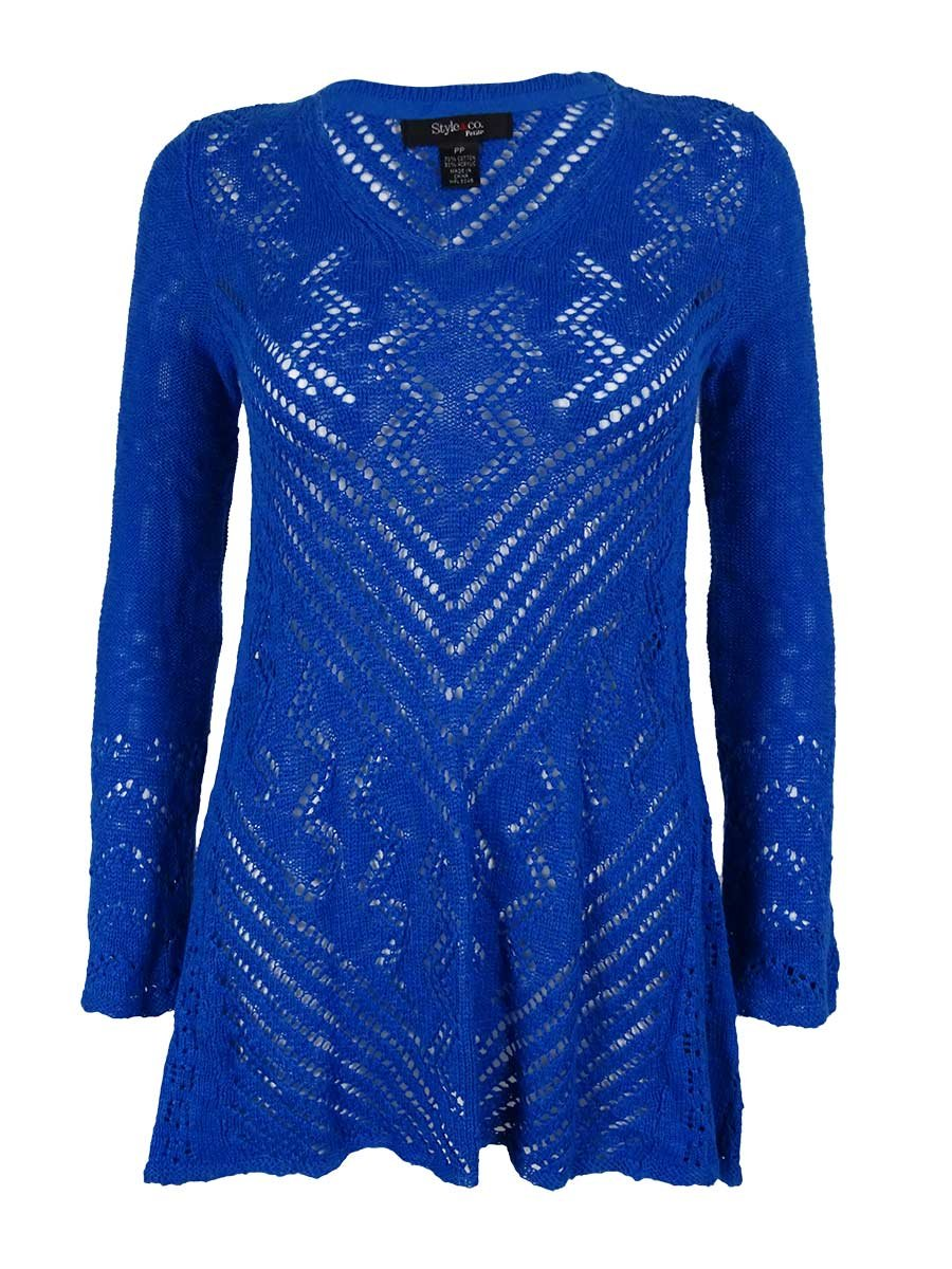 Style & Co. Women's V-Neck Open Knit Sweater (PM, Vineyard Coast)