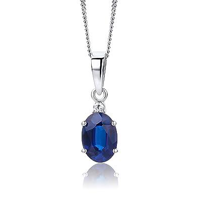 économies fantastiques beaucoup de choix de code promo Orovi bijoux femme, collier en or blanc avec pendentif diamant 0.02 Ct et  Saphir bleu pierre précieuse 1.1 Ct chaîne 45 cm 9 Kt / 375 Or