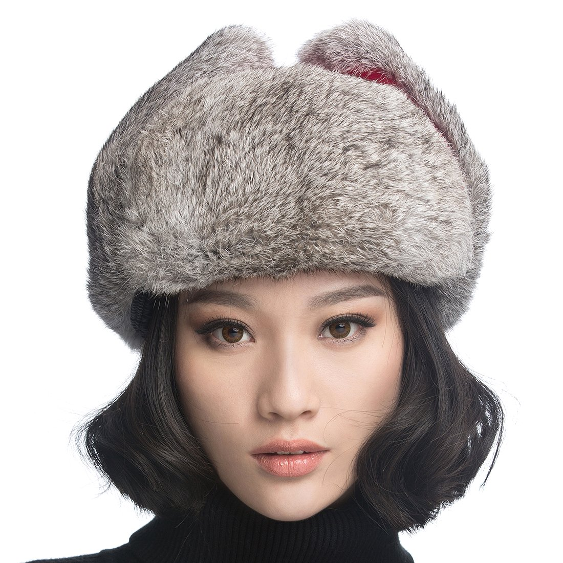 URSFUR Aviator Hat with Grey Rabbit Fur .Ltd. GCID-YZM-LF-01-4-X