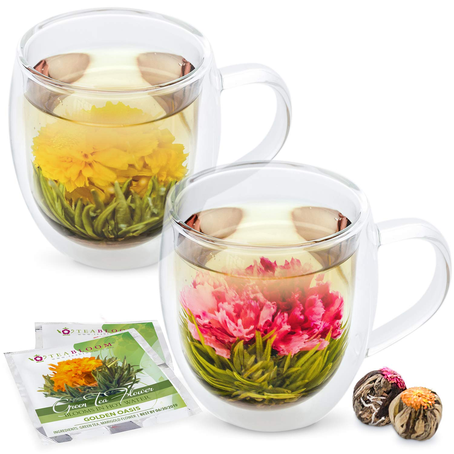 Teabloom Large Insulated Glass Mugs & Blooming Tea Flowers Gift Set (Set of 2 Mugs + 2 Tea Balls) - 550 ml Double Wall Borosilicate Glass Mugs & 2 Gourmet Blooming Green Tea Flowers SYNCHKG095290