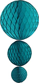 product image for Teal Green Honeycomb Balls, Set of 3 (12 inch, 8 inch, 5 inch)