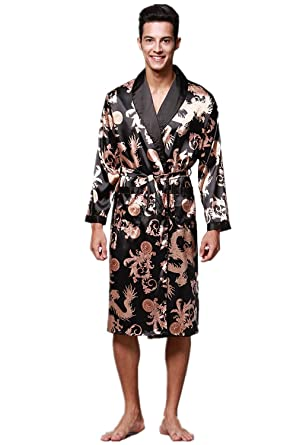 WEEN CHARM Men s Satin Robe Dragon Luxurious Silk Spa Long Sleeve House Kimono  Bathrobe 60aedd61b