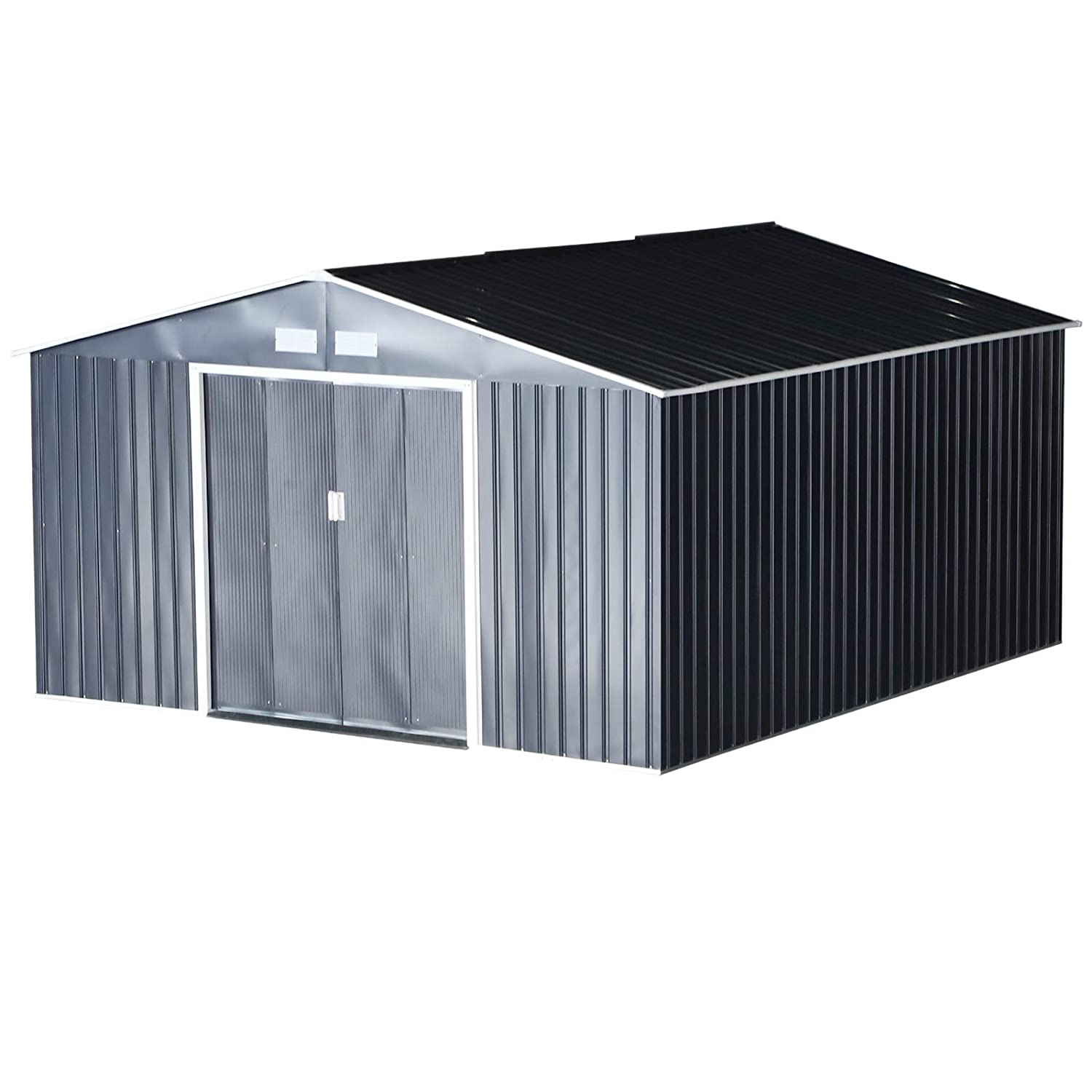 Outsunny Metal Garden Shed Utility Tool Storage 11' x 12.5' Outdoor for Backyard and Garden - Grey