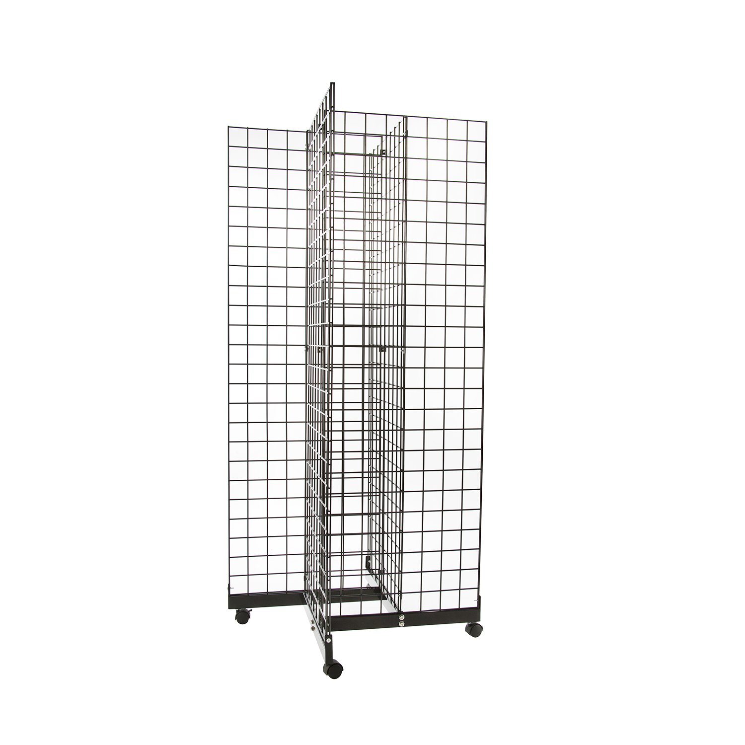 Only Hangers Black 4-Way Wire Grid Tower with Base and Casters - 2' x 6' Wire Grid Panel 4-Sided Rolling Display Rack