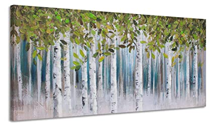 Green White Birch Painting Wall Art Green Tree Forest Canvas Picture Decoration For Living Room Large Modern Abstract Hand Painted Artwork Hang In