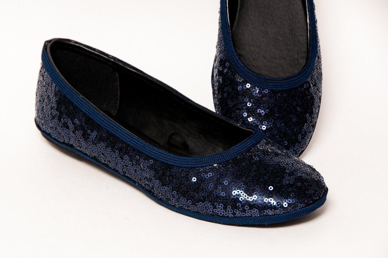 Starlight Sequin Navy Blue Ballet Flats