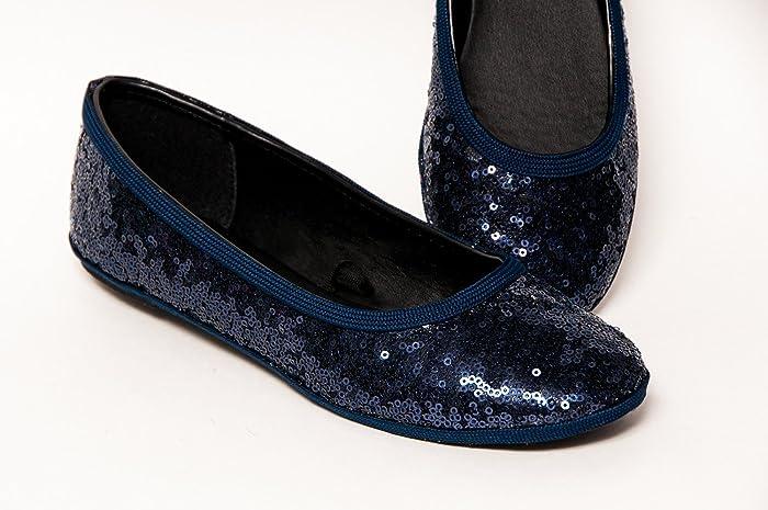 15d8471f3c Amazon.com: Starlight Sequin Navy Blue Ballet Flats Slippers Shoes: Handmade