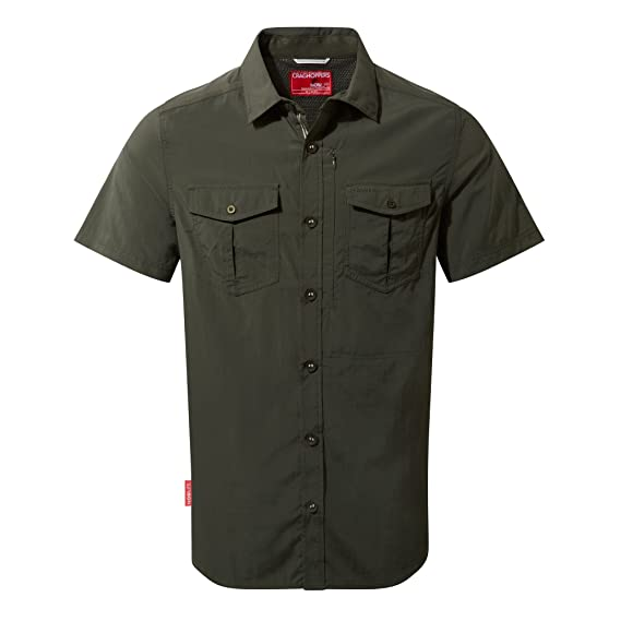 Craghoppers NosiLife Mens Adventure Short Sleeve Travel Shirt (S) (Dark  Khaki)