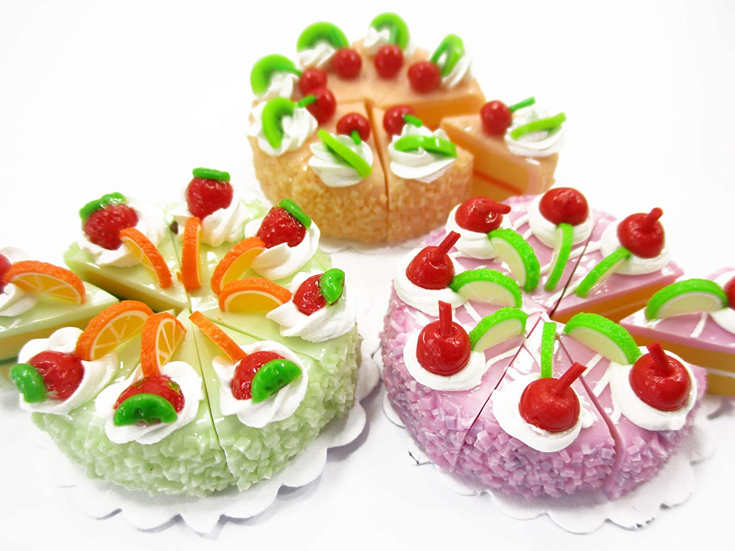Dollhouse Miniatures Food 24 Cuts Slice Cake Mixed Color Fruit Supply 15268