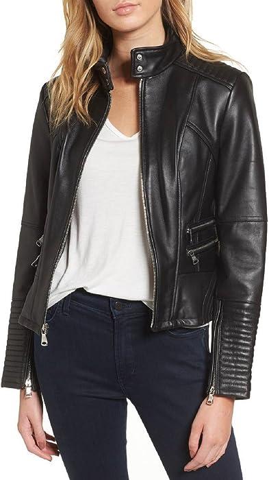 1ffc5ba4b NBENTERPRISES Women's Slim Fit Genuine Leather Black Biker Jacket ...
