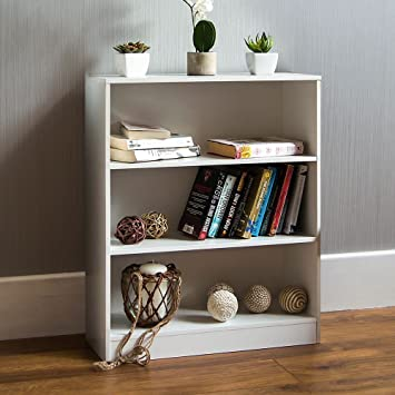 Home Cambridge 3 Tier Low Bookcase White Wooden Shelving Display