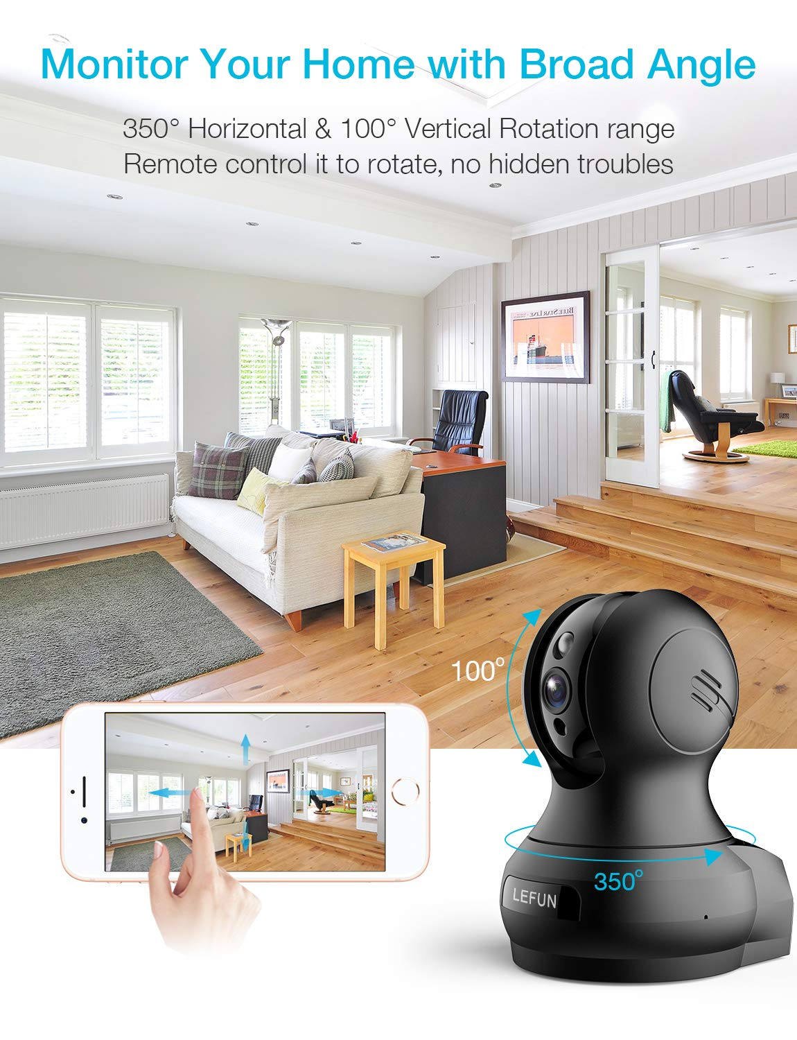 Wireless Security Camera WiFi Dog Pet Camera with 2 Way Audio Motion Detection Night Vision, Lefun IP Pan/Tilt/Zoom Home Surveillance Camera Cloud Cam Baby Monitor by Lefun