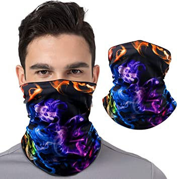 Neck Gaiter Bandana Face Mask Purple Flames Half Face Mask Neck Gaiters UV Sun Masks Scarf for Women Men