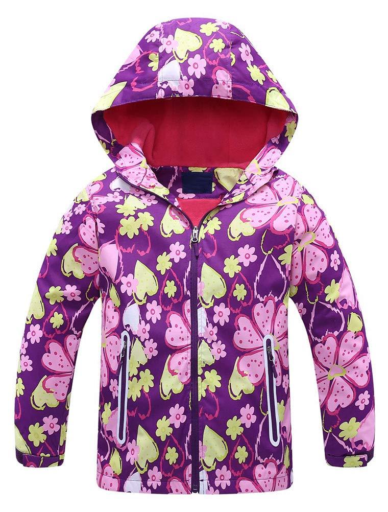Mallimoda Girls'Hooded Jacket Fleece Liner Waterproof Outdoor Coat Outwear Style 2 Purple 11-12 Years by Mallimoda