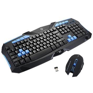 Juego de ratón teclado inalámbrico, Elobeth juegos inalámbrico 2.4 G teclado y ratón de ordenador