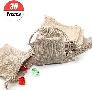 YuChiSX 30 Bolsas de Muselina de Algodón con Cordón Reutilizables ...