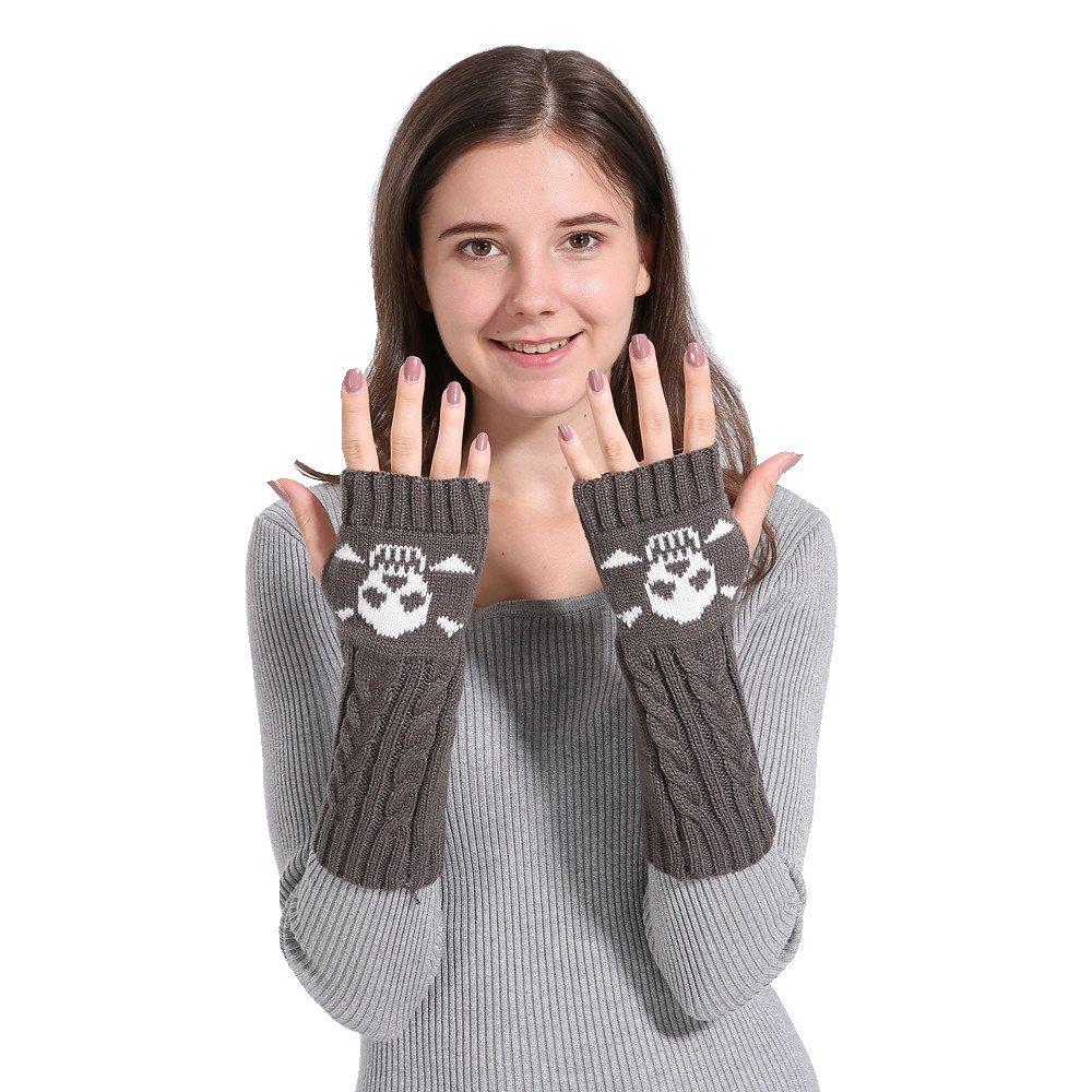 URIBAKE Women's Knitted Arm Wrist Warmer Skull Pattern Long Twist Plus Thick Half Finger Winter Warm Gloves Mittens