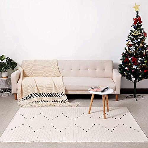 DOLOPL Boho Area Rug Floor Mat Cotton Woven 4 x6 Farmhouse Modern Mats Machine Washable Easy to Clean for Kitchen Dining Bedroom Laundry Living Room Off White, Chivron Rug