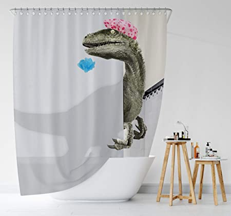 Bomehsoi White Funny Dinosaur Raptor Shower Curtain for Bathroom Fabric Cloth Waterproof Shower Curtains Shower Stall Curtain with Hooks 72