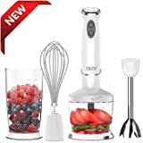THZY 4-in-1 Hand Blender with 6 Speed,Powerful Immersion Hand Blender for Smoothies Baby Food Yogurt Sauces Soups (White)