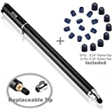 B&D Universal Capacitive Stylus Pen 2-in-1 Styli Touch Screen Pen with 20Pcs Replacement Rubber Tips for Apple iPad,iPhone,iPod,Kindle,Tablet,Galaxy, LG&HTC (Black, 5.5-inch)