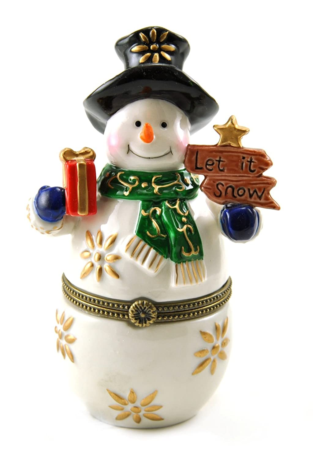 Let It Snow Jolly Happy Snowman Hinged Porcelain Trinket Box