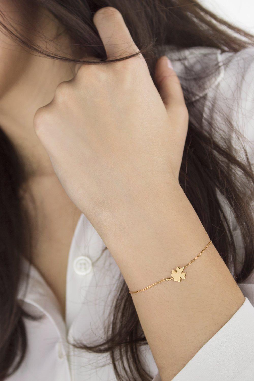 ab2ddfc3e Amazon.com: Lucky Clover Bracelet, Gold Clover Leaf, 9K, 14K, 18K Gold  Bracelet, Gold Four-Leaf Clover, Good Luck Gift For Her/code: 0.002:  Handmade