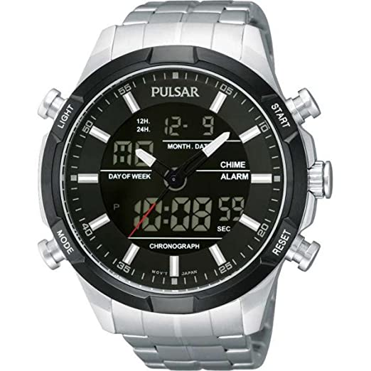 322480609 Pulsar Sports Chronograph Black Dial Stainless Steel Bracelet Mens Watch  PW6003X1: Amazon.co.uk: Watches