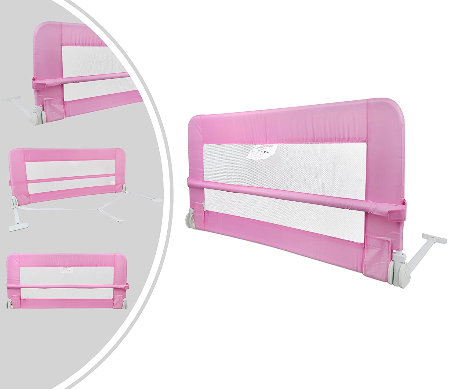 Leogreen - Baby and Toddler Safety Bed Rail, Foldable Baby Bed Gate, 3.9 feet, Pink, Material: Nylon fabric
