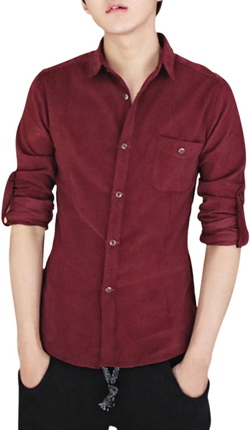 Sourcingmap – Hombres Slim Fit botón Cierre Punto Cuello Camisa de Pana: Amazon.es: Ropa y accesorios