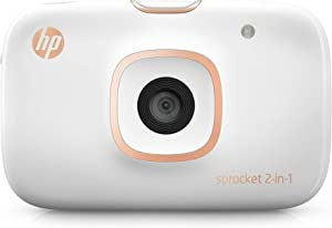 "HP Sprocket 2-in-1 Portable Photo Printer & Instant Camera, print social media photos on 2x3"" sticky-backed paper (2FB96A) (Renewed)"